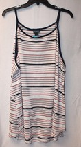 New Womens Plus Size 3 X Flowy Airy Navy Pink & White High Neck Tank Top Shirt - $12.59