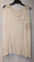 New Womens Plus Size 3 X Ivory Off White Tank Top W Cute Crochet Front Pocket - $16.44