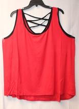 New Womens Plus Size 3 X Flowy Red W Black Trim & Strappy Lattice Back Tank Top - $12.59