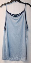New Womens Plus Size 3 X  Flowy Airy 2 Tone Blue Blues High Neck Ringer Tank Top - $14.50