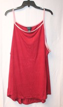 Cute New Womens Plus Size 3 X  Burgundy With Pink Trim High Neck Ringer Tank Top - $14.50