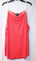 Cute New Womens Plus Size 3 X Coral With White Trim High Neck Ringer Tank Top - $14.50