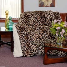 CHEETAH SKIN PRINT Queen Soft Luxury Filled Sherpa Bed Spread Blanket 79... - $72.95