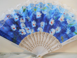 Blue Cloth with White Lace Floral Embroidered Folding Asian Fan  n118 - $12.99