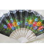 Asian Black Cloth with White Lace Embroidered Folding Fan  n118 - $12.99