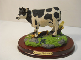 Cow Figurine Standing on grass on a Wood Base #631 - $34.99