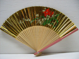 Asian Hand Painted Gold Floral Hand Folding Fan # 37 - $9.99