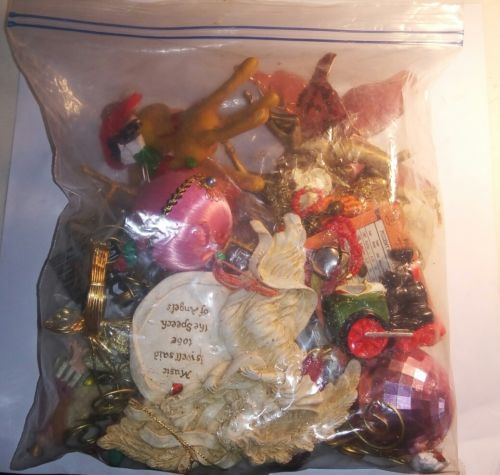 Bag Lot Of Vintage Christmas Ornaments Some Antique Holiday Decorations