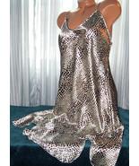 Wh Blk Purple Leopard Chemise Short Gown 1X 2X Adjustable Straps - $12.50