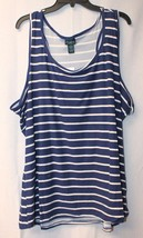 New Womens Plus Size 3 X Navy Blue & White Striped Racer Back Brushed Tank Top - $14.50