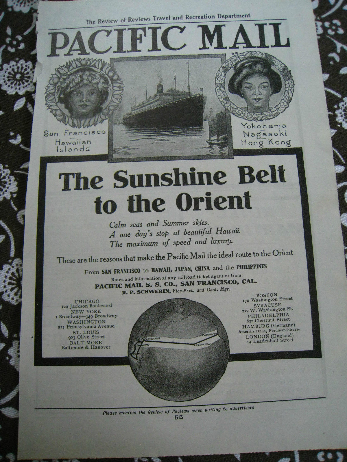 Pacific mail cruise line 1907 ad advertisement magazine for Free home magazines by mail