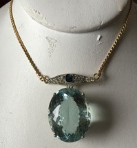 Huge VVS 46ct Aquamarine, Edwardian platinum, sapphire diamond 14k gold ... - $19,999.99