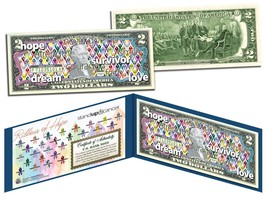 Cancer Awareness * RIBBONS OF HOPE * Colorized U.S. $2 Bill * STAND UP 2... - $13.95