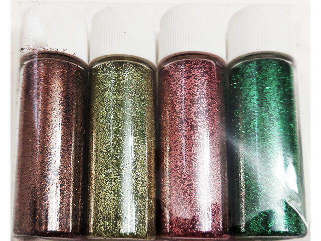 Fine Glitter, 4 Containers, 4 Colors