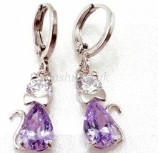 fashion1uk Dangle Earrings White Gold Plated Lilac Simulated Diamond - $16.68
