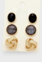 3 Pairs Gold & Black Knot Natural Stone Horn Stud Earrings W311357 - $11.00
