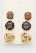 3 Pairs Gold & Grey Knot Natural Stone Horn Stud Earrings W311360 - $11.00