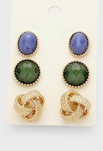 3 Pairs Gold & Blue Knot Natural Stone Horn Stud Earrings W311358 - $11.00