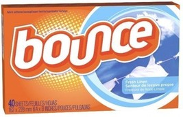 Bounce Dryer Sheets Fresh Linen Scent Fabric Softener 40 Ct Box - $6.68