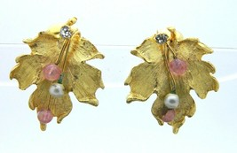 White Pearl Pink Glass Bead Clear Rhinestone Gold Tone Leaf Clip-On Earrings - $7.92
