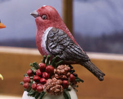 Ceramic Bird Bell Collectible Pine Grosbeak New