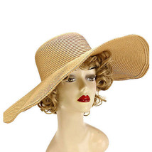 Brown Wide Brimmed Solid Straw Floppy Hat Beach, Pool, Vacation W293600 - €21,42 EUR