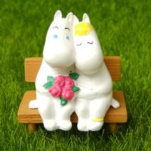 Moomin Couple Bench Fairy Garden Terrarium Decor Character Figure Figuri... - $9.99