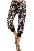 Women's Yelete Black & White Geometric Print Jogger Pants with Pockets USA - $9.95