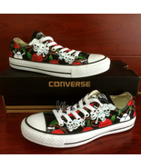 Hand Painted Shoes Converse Chuck Taylor Red Roses Skull Low Top Canvas ... - $159.00