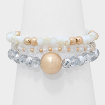 3 PC White & Gold Bead Accent Beaded Strand Stack Stretch Bracelets W313527 - $10.50