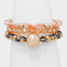 3 PC Peach & Gold Bead Accent Beaded Strand Stack Stretch Bracelets W313526 - $10.50