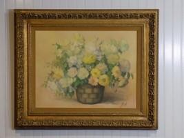 Vintage Original Pat Zenda Listed Artist Oil on Canvas Floral Bouquet Pa... - $569.25