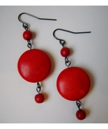 Red Howlite Beaded Earrings Handmade Gemstone Beads Dangle Pierced Hook Gift - £22.38 GBP