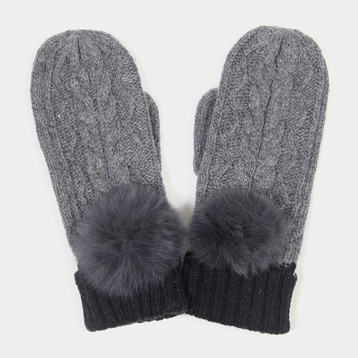Grey Angora Pom Pom Two Tone Knit Mitten Gloves 317786