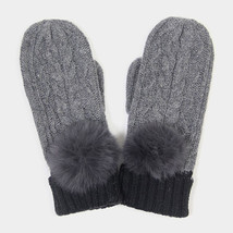 Grey Angora Pom Pom Two Tone Knit Mitten Gloves 317786 - ₨1,516.03 INR