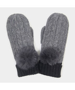 Grey Angora Pom Pom Two Tone Knit Mitten Gloves 317786 - $21.00