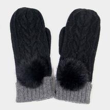 Black Angora Pom Pom Two Tone Knit Mitten Gloves 317784 - $424,51 MXN