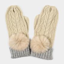 Ivory Angora Pom Pom Two Tone Knit Mitten Gloves 317787 - $323,44 MXN