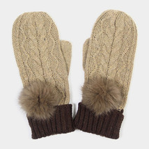 Taupe Angora Pom Pom Two Tone Knit Mitten Gloves 317788 - $222,36 MXN