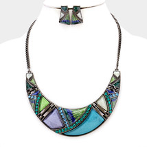 Teal & Hematite Crystal Detail Crescent Bar Bib Statement Necklace 318400 - $13.25