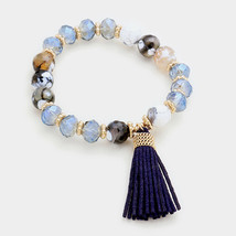 Blue & Gold Semi Precious Stone Beaded Stretch Bracelet with Tassel 315355 - $8.50