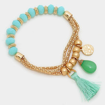 Mint & Gold Tassel Semi Precious Stone Faceted Bead Stretch Bracelet 291831 - ₨551.88 INR