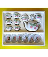 Vintage China Miniature Doll Dollhouse Tea Party Set Porcelain Strawberr... - $18.76