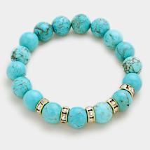 Turquoise & Rhinestone Semi Precious Stone Beaded Stretch Bracelet 318584 - $18.25