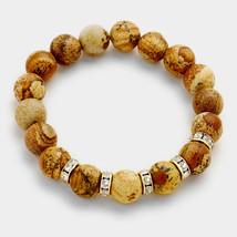 Brown Jasper & Rhinestone Semi Precious Stone Beaded Stretch Bracelet 31... - ₨1,317.50 INR