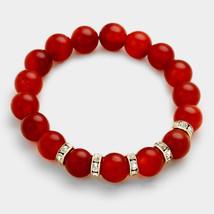 Red Onyx & Rhinestone Semi Precious Stone Beaded Stretch Bracelet 318581 - ₨1,317.50 INR