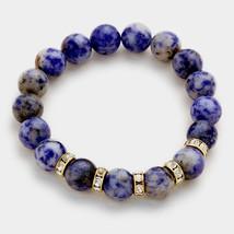 Blue Sodalite & Rhinestone Semi Precious Stone Beaded Stretch Bracelet 3... - ₨1,317.50 INR