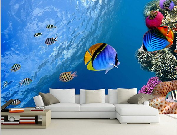 FREE SHIPPING 3D Underwater Ocean Tropical Fish Design