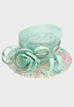 Church Kentucky Derby Wedding Sinamay Dress Hat Floral Printed Aqua TTH ... - $30.08 CAD