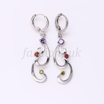 Women New Lilac Red CZ Cubic White Gold Plated Birthday Xmas Dangle Earr... - $14.84